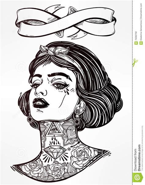 adult coloring vector  young tattooed girl stock vector