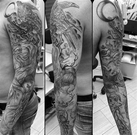 tree sleeve tattoo designs  men ink ideas