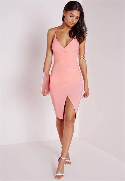 missguided slinky strappy asymmetric bodycon dress blush