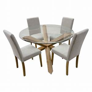 Round glass dining room table and 4 chairs dining room for Round glass dining room tables and chairs