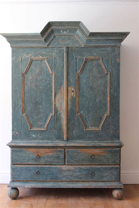 a swedish blue painted pine cupboard 18th century furniture