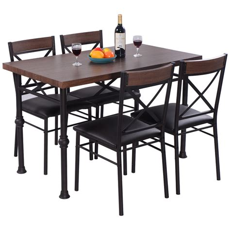 piece dining set table   chairs wood metal kitchen