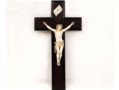 Christ crucifix cross carved ivory Dieppe nineteenth century