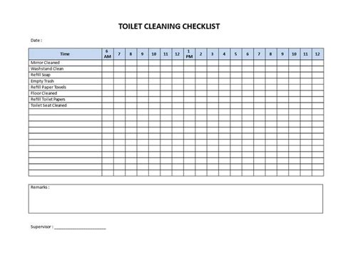 toilet cleaning checklist   printable toilet