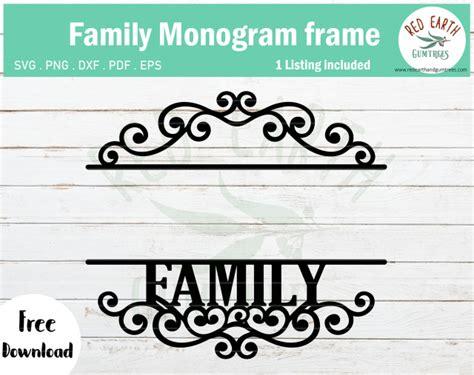family monogram frame svg cut file  rustic kitchen monogram file  family sign