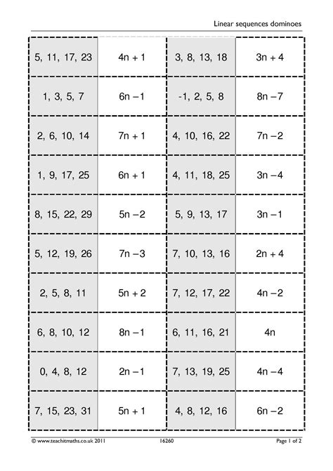 linear sequences dominoes algebra sequences nth term