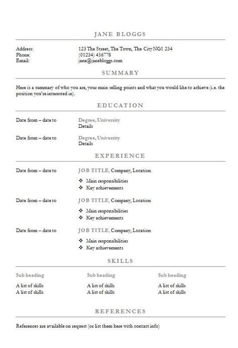 centred headings cvresume template   write  cv
