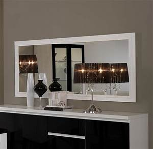 miroir de sjour rectangulaire blanc laqu design maribella With miroir salon design
