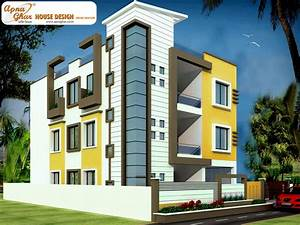 Building Front Elevation Of Floor 3, House Front Elevation