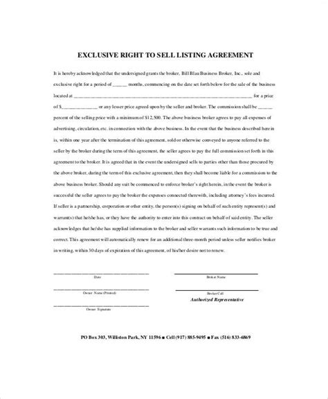 sample business listing agreement templates  ms