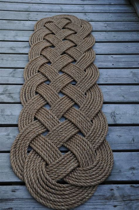 rope doormat diy larger rope rug nautical decor nautical rope rug by oyknot