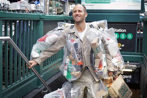 guy wearing  days worth  garbage  nyc
