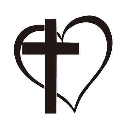 Cross Jesus Heart Religious Vinyl God Clipartmag