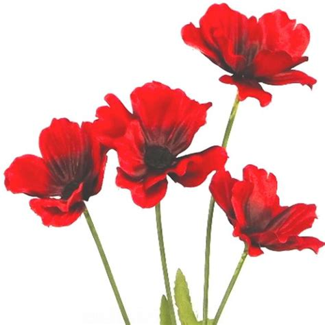 artificial poppy stem cm red artificial poppies