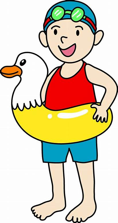 Swimming Clipart Boy Clip Pool Cartoon Going