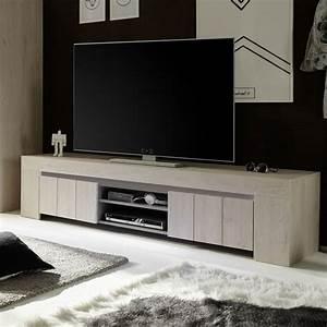 Meuble TV 2 Portes Contemporain Couleur Chne Clair PLUMA