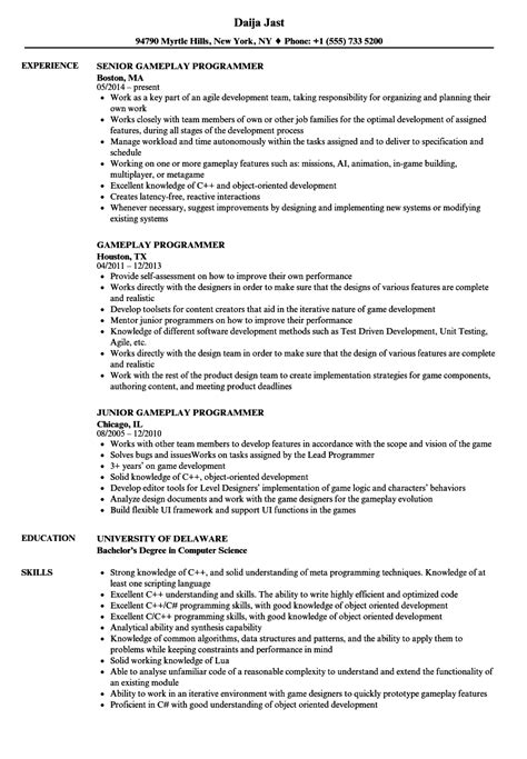 Programmer Resume by Gameplay Programmer Resume Sles Velvet