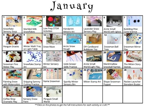 31 days of activities for january free winter 170 | january kids activities planner calendar