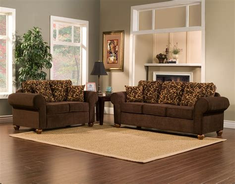 2 Piece Brown Sofa Set With Flowery Gold Pattern