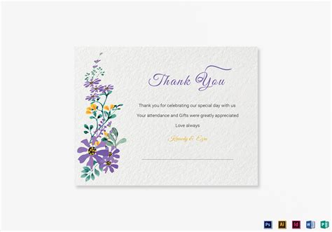 thank you card template in word garden thank you card template in psd word publisher