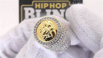 Ring Iced Gold Medusa Bling Custom
