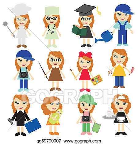 12202 different professions clipart eps illustration different on white vector