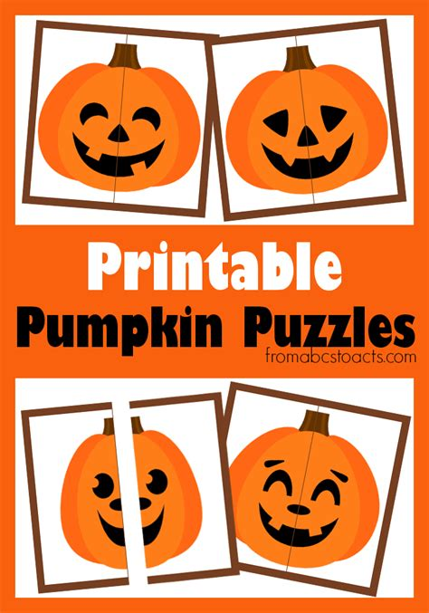 printable pumpkin puzzles from abcs to acts 759 | Printable pumpkin puzzles for preschoolers