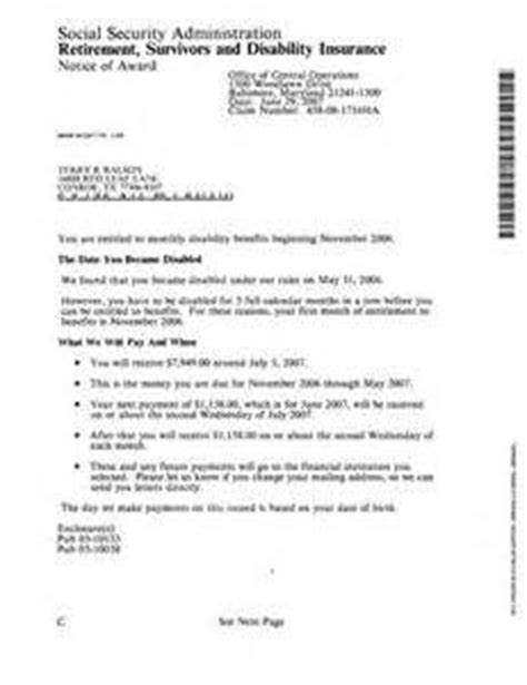 social security award letter social security disability award letter letter of