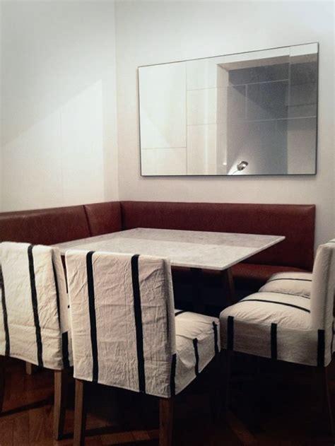 decoracion comedor bancos de cuero mesa de marmol