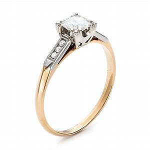 Estate two tone gold diamond engagement ring 100901 for Two tone wedding rings with diamonds