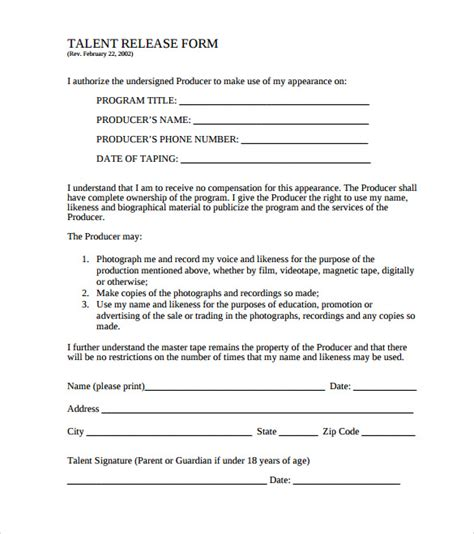 17034 talent release form template 10 release form templates to for free