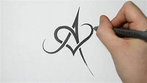 How to Draw/Combine a Letter with a Heart - A - YouTube