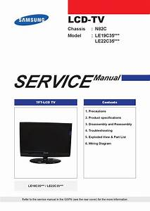 Manual Service Televisor Lcd Marca Samsung Modelos Le19c35xxx E Le22c35xxx Chassis N82c  By