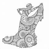 Flamenco Dancer Coloring Patterns Zentangle Stress Anti Paisley Pages Zen Shape Adult Female Adults Justcolor sketch template