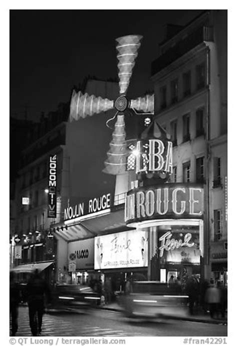 black  white picturephoto moulin rouge red mill