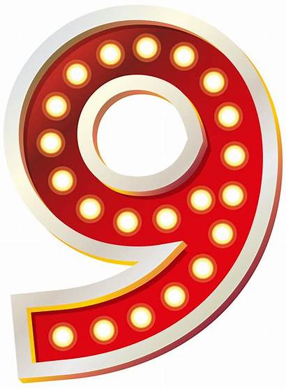 Nine Number Clip Clipart Lights Cliparts Numbers