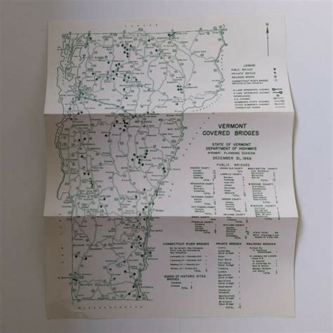Vermont Map Of Covered Bridges 1966 Highway Department