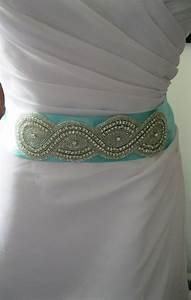 tiffany blue wedding belt with rhinestone decor bridal With tiffany blue wedding dress sash