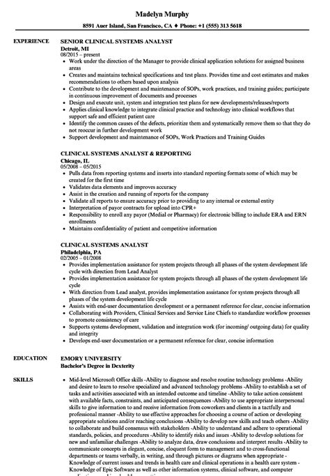 Clinical Resume Exles by Clinical Systems Analyst Resume Sles Velvet
