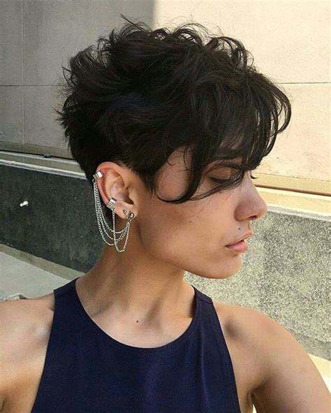 Pixie Hairstyles For Thick Curly Hair by In Front Pixie Cut For Thick Wavy Brown Hair