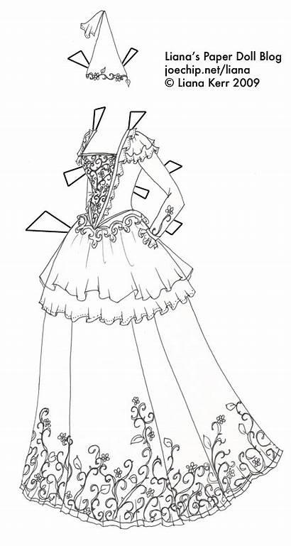 Coloring Princess Gown Paper Dolls Printable Dresses