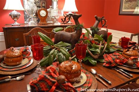 christmas tablescape cozy woodland setting  antler