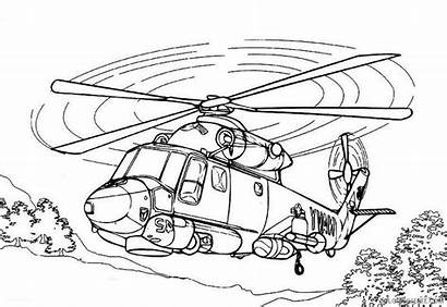Helicopter Coloring Rescue Army Helikopter Sketsa Gambar