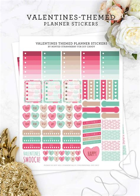 Free printable basketball planner stickers. Free Valentines Themed Stickers for Planners - DIY Candy