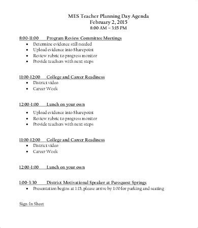 day agenda templates   word  documents
