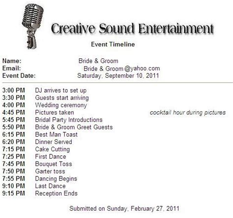 wedding reception timeline template receptions timeline and wedding on
