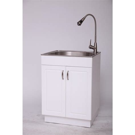 white laundry sink cabinet utility sink faucet laundry room with stainless steel