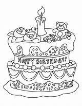 Cake Coloring Birthday Pages Printable Colouring Cakes Para sketch template