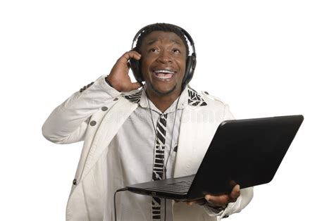 African Dj With Notebook And Head Phones Stock Image
