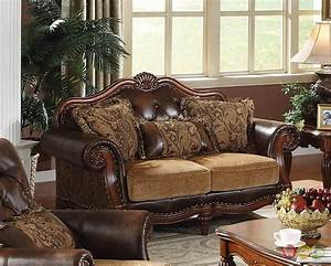 Dreena traditional formal living room set carved cherry for Wood living room set